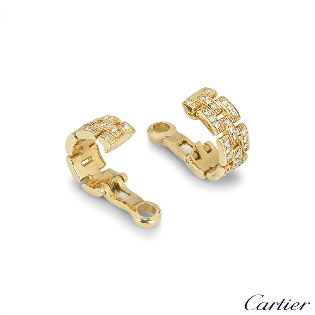 Cartier Yellow Gold Diamond Maillon Panthere Ear Clips
